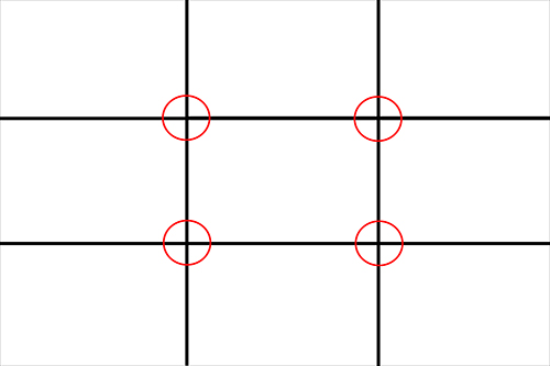 """The frame broken into thirds with the intersections of the lines as """"Anchor Points"""" for placing a subject."""