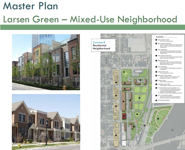 Design Concept B for Larsen Green from the Downtown Master Planning Process