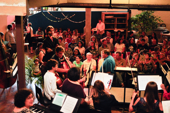 The largest ensemble to ever play at Kavarna, the Music for the Sake of Music String Orchestra.