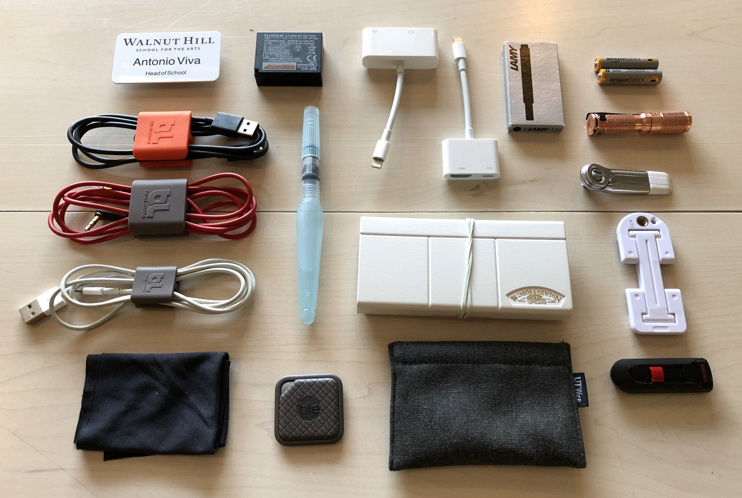 Cables, dongles, batteries, etc. are stored in the large black mesh pocket.