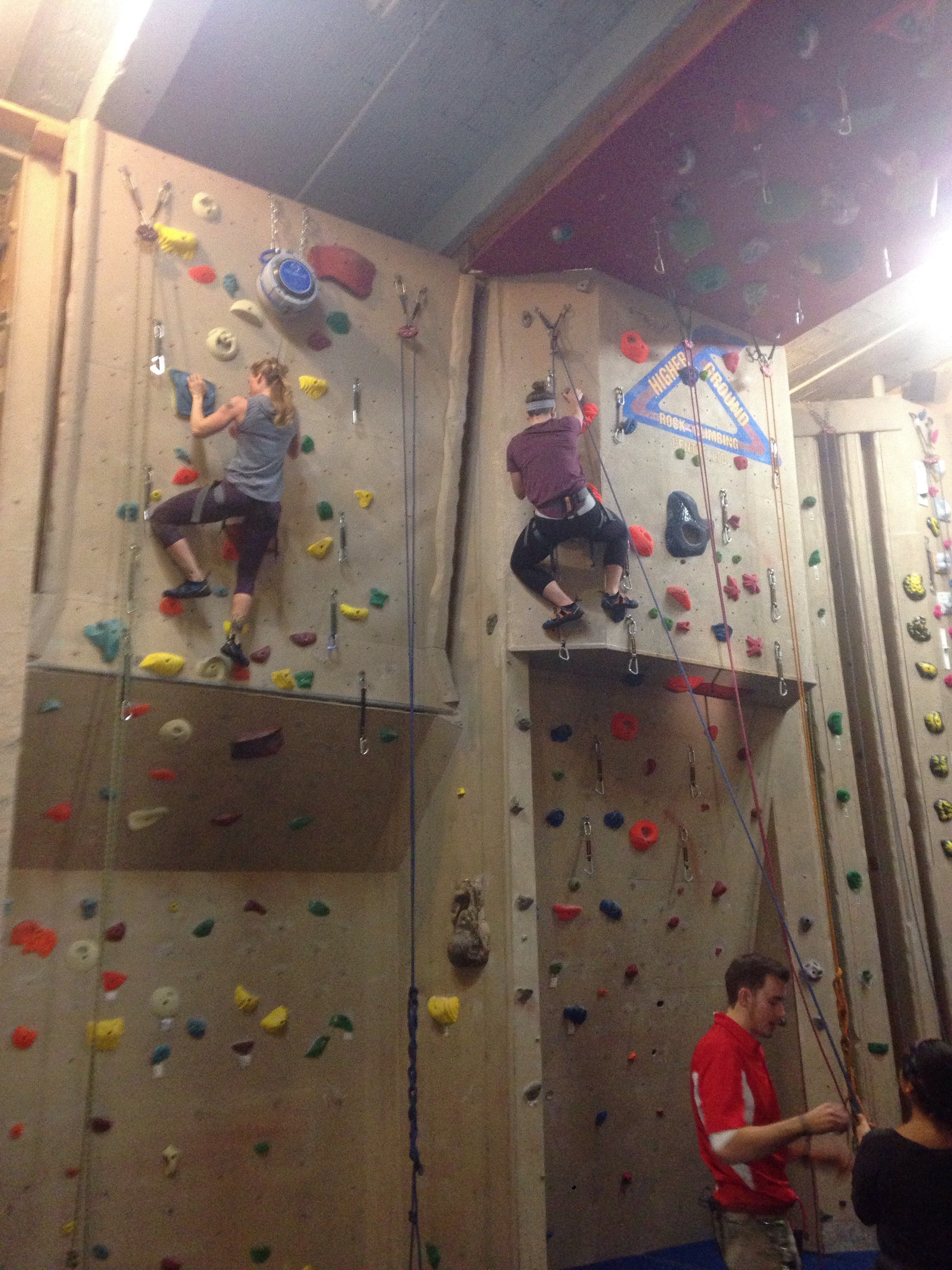 Brandy and Sarah. From our Rock Climbing gym trip.
