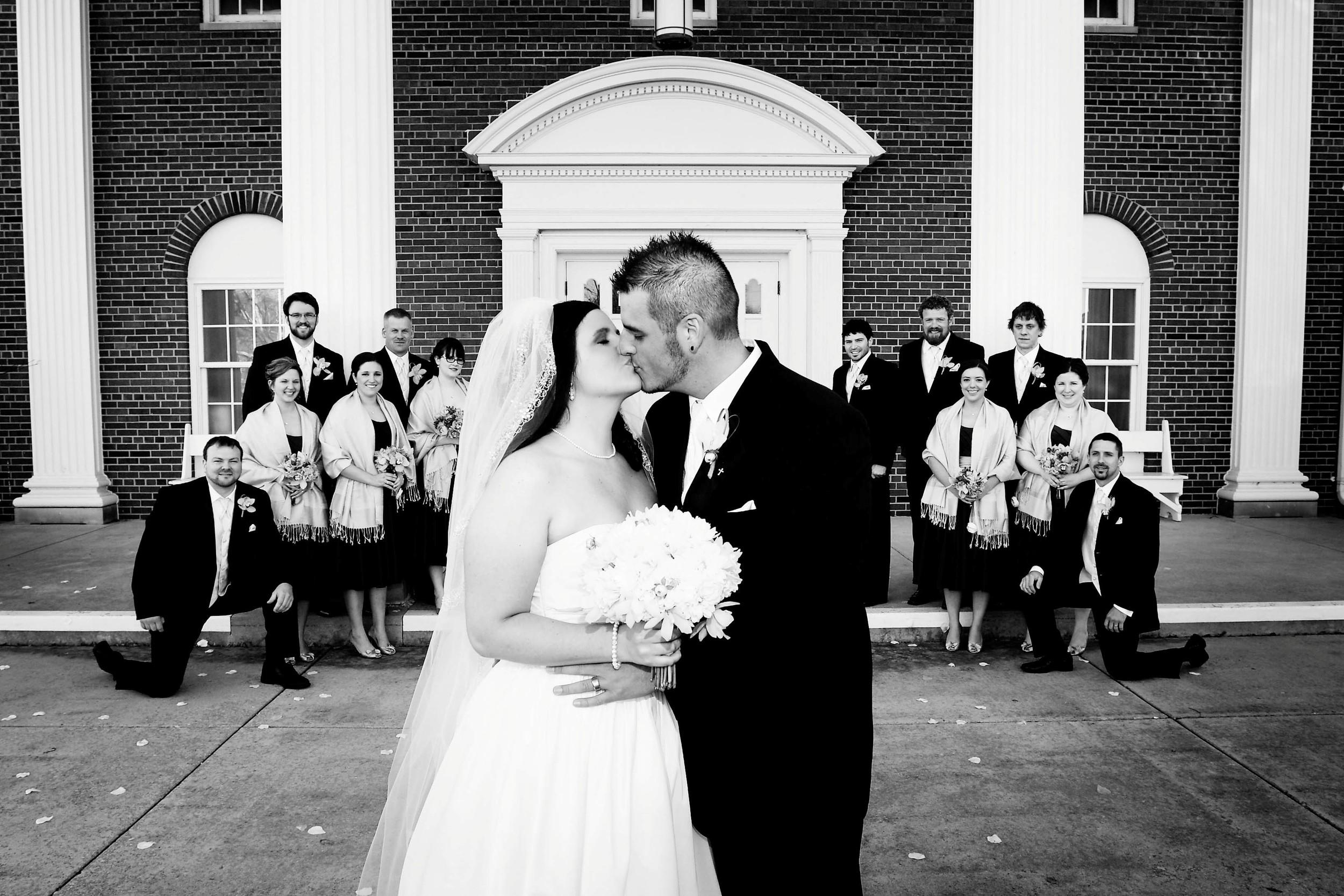 A kissing outside BW.jpg