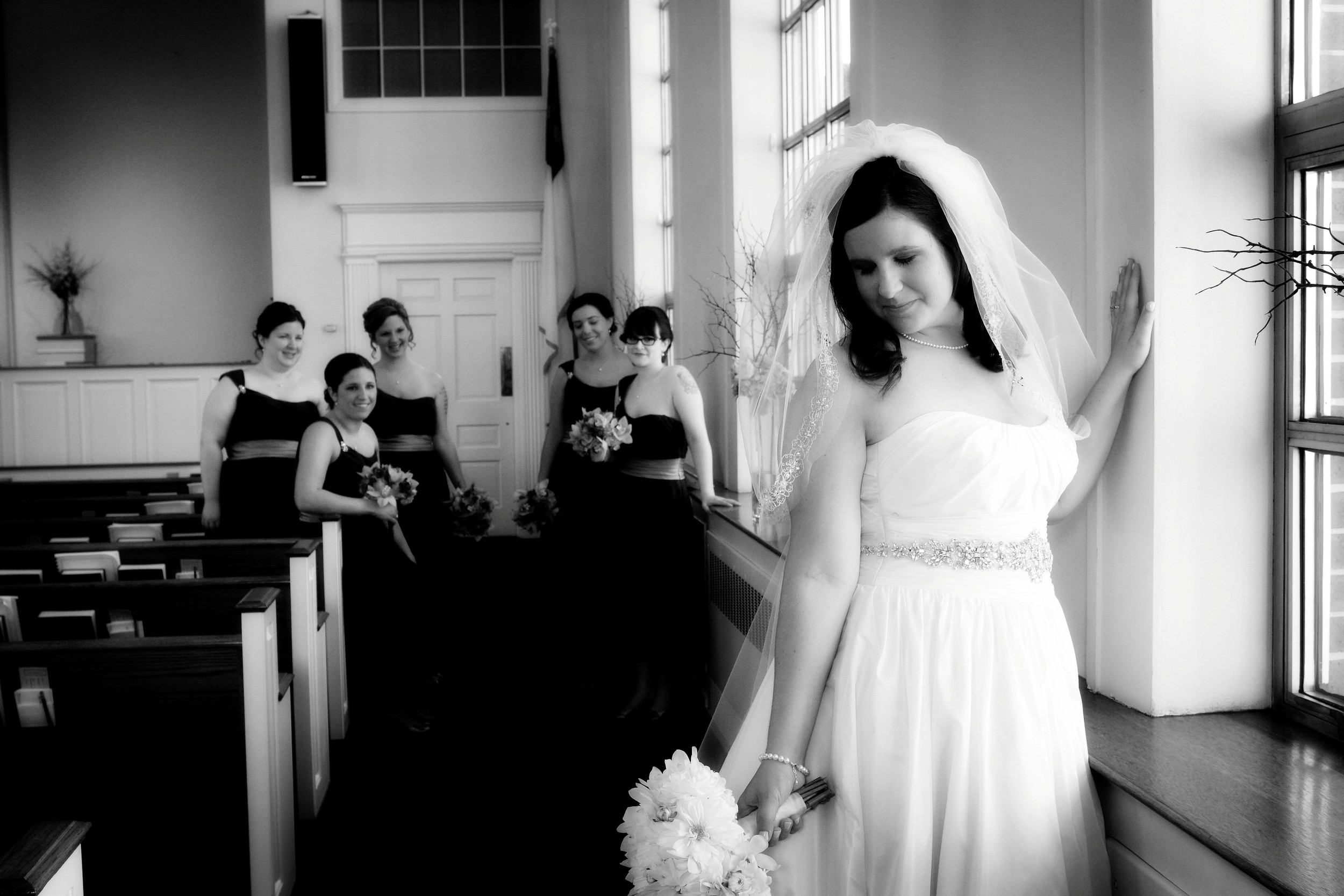 A Abbey in aisle with girls BW.jpg