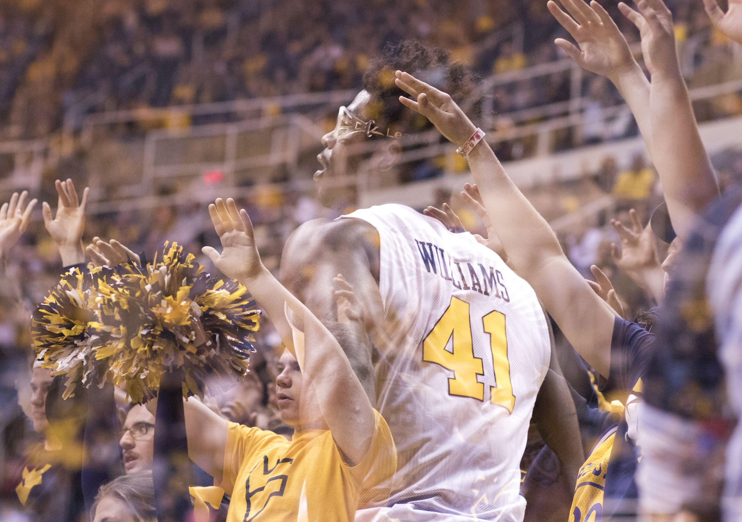 Devin Williams and the WVU student section watch as the Mountaineers are at the foul line.