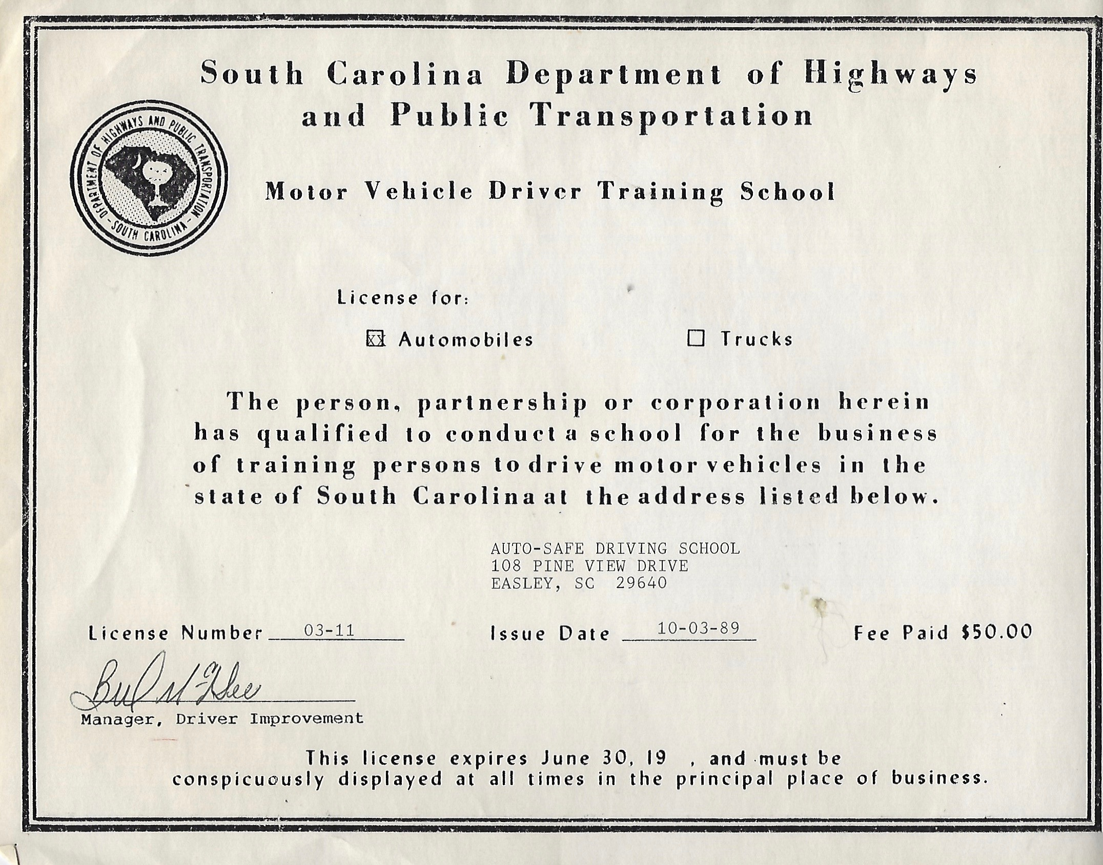 The Original Auto-Safe Certification as a driving school.