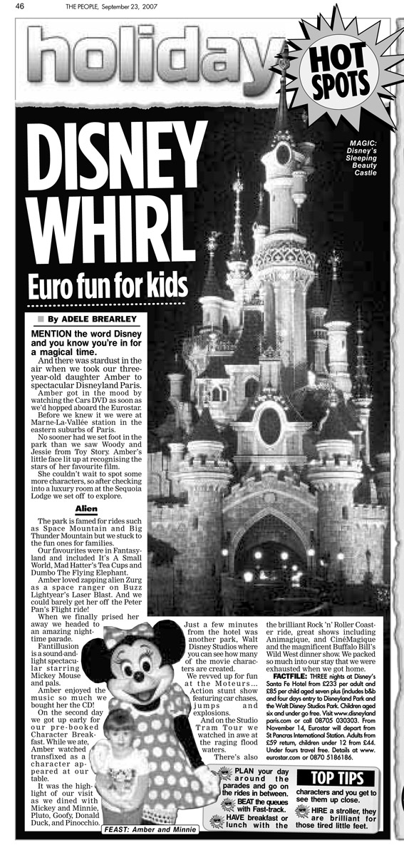 Travel piece about when my mum and I took Amber to Disneyland Paris. Published in The Sunday People, September 23, 2007