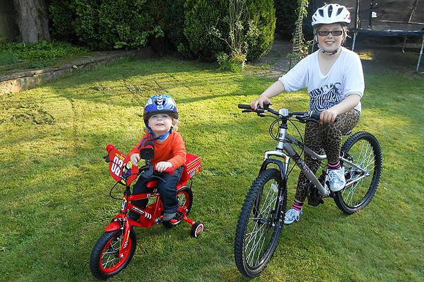 Jacob and Amber on their bikes