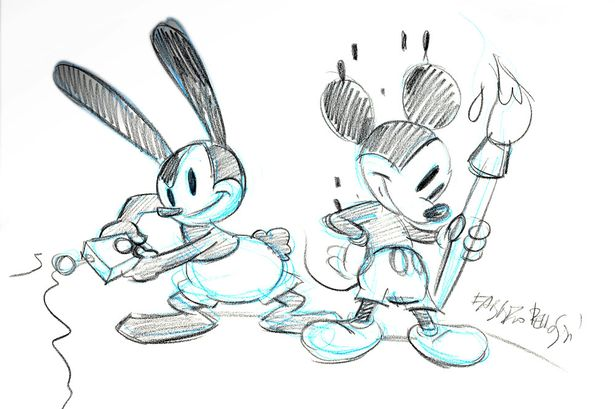 Illustration of Oswald and Mickey by Fabrizio for Adele