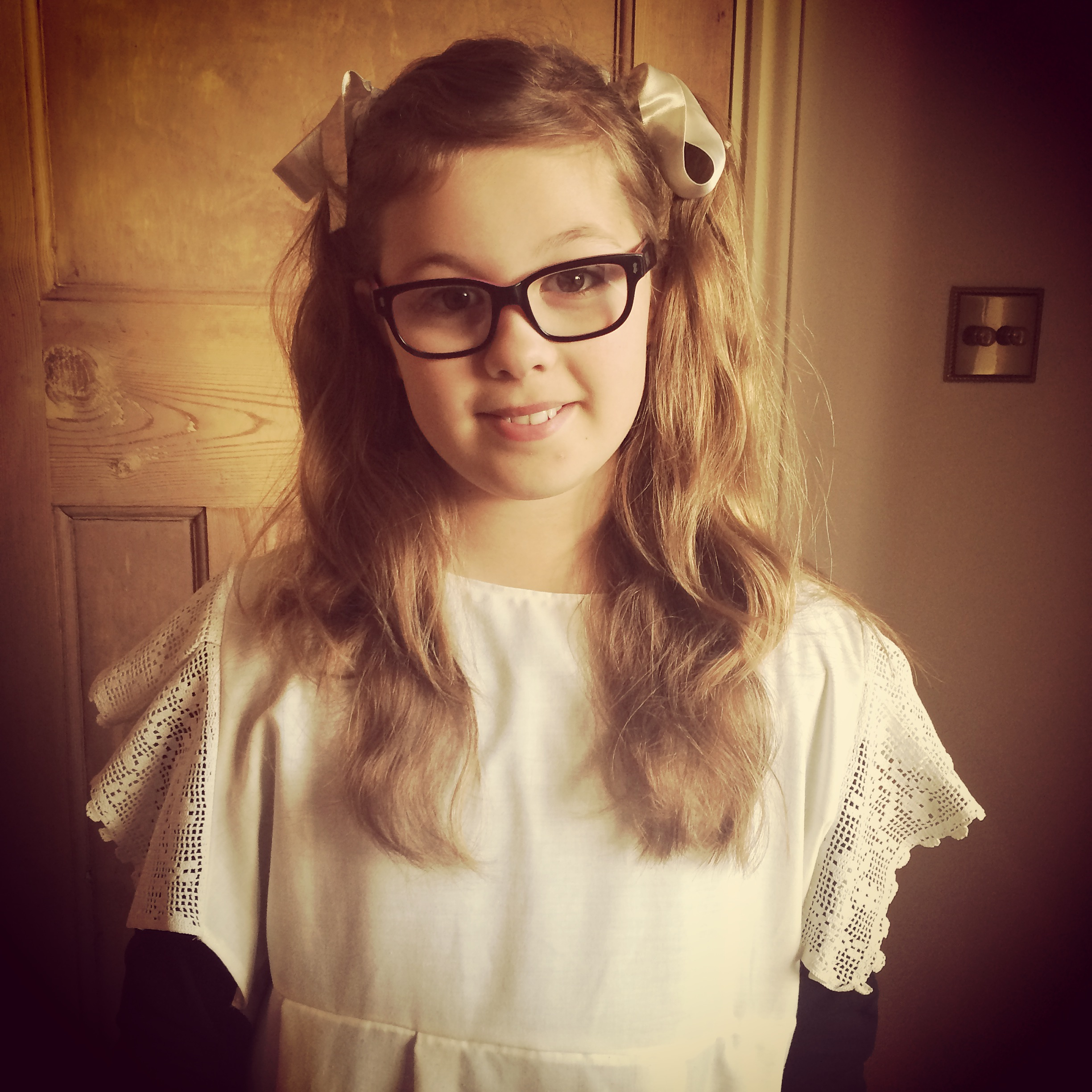 Our daughter Amber dressed as a Victorian schoolgirl for her school trip in the outfit I made.