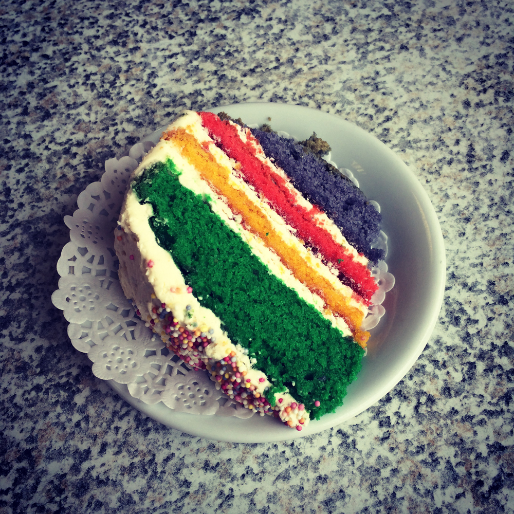 Yummy rainbow cake was a favourite!