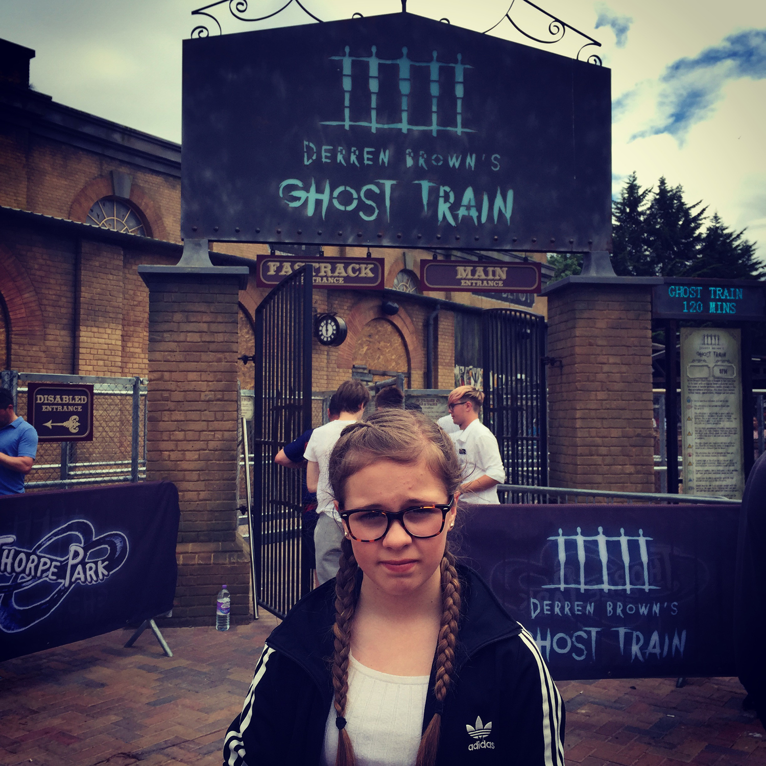 Amber a bit nervous about going on Derren Brown's Ghost Train at Thorpe Park