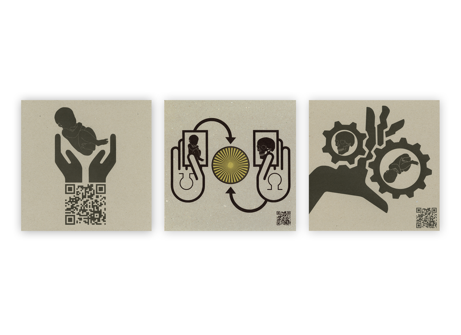 """Image 1- QR Cradle  Image 2- Tarotble Truth  Image 3- In Between Time  11"""" x 11""""  2011  ©Jase Clark"""