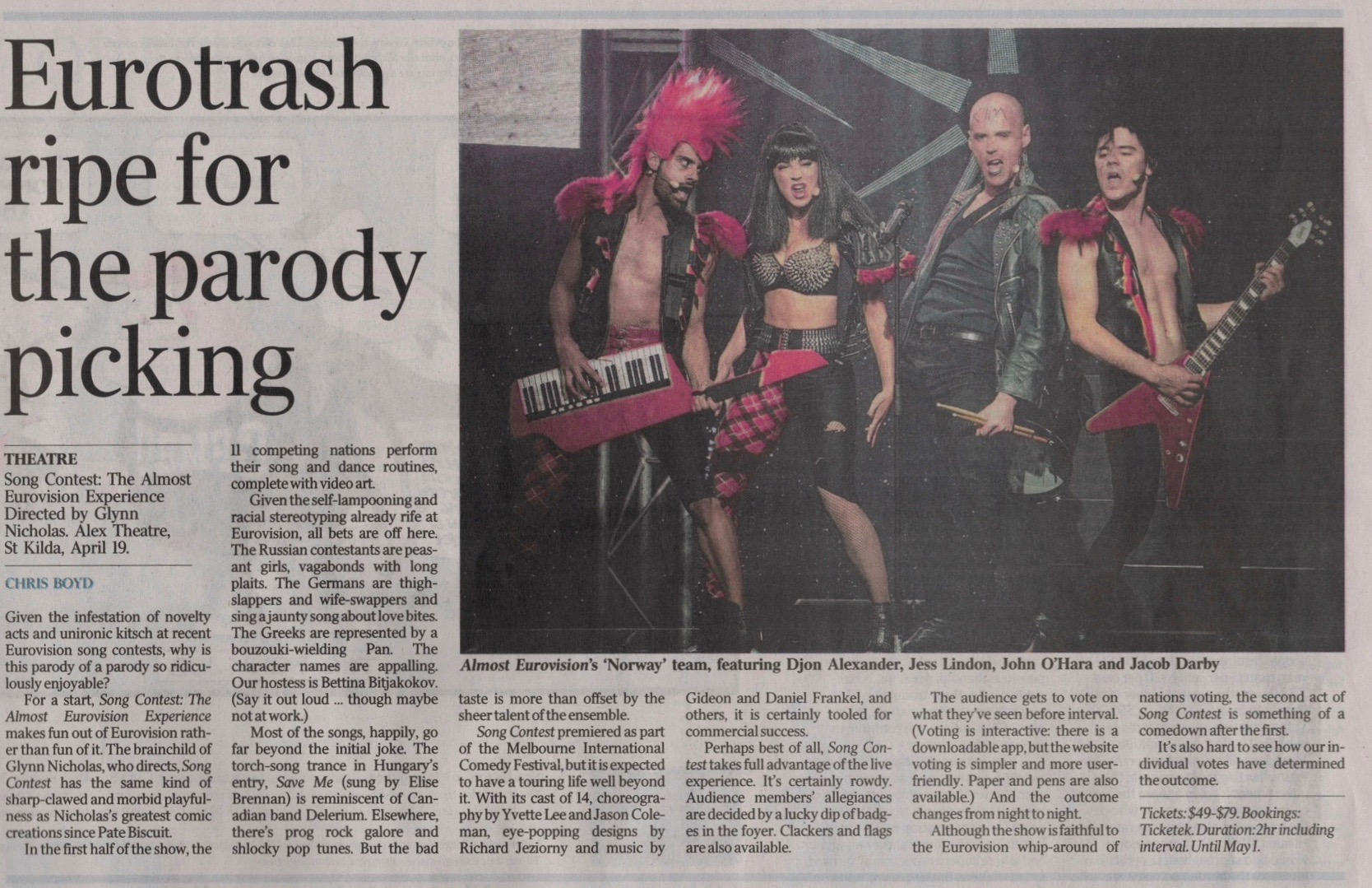 REVIEW BY CHRIS BOYD FROM 'THE AUSTRALIAN'