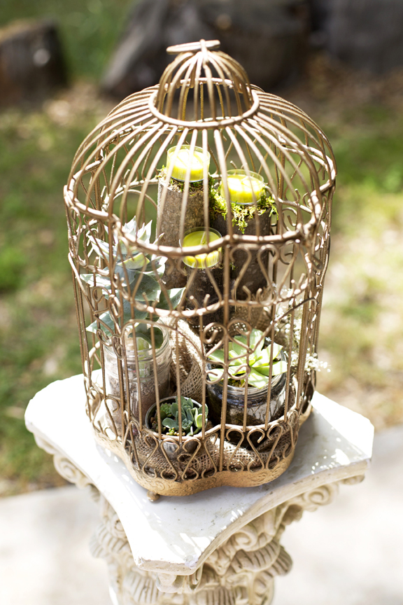 succulents and candles in gold birdcage