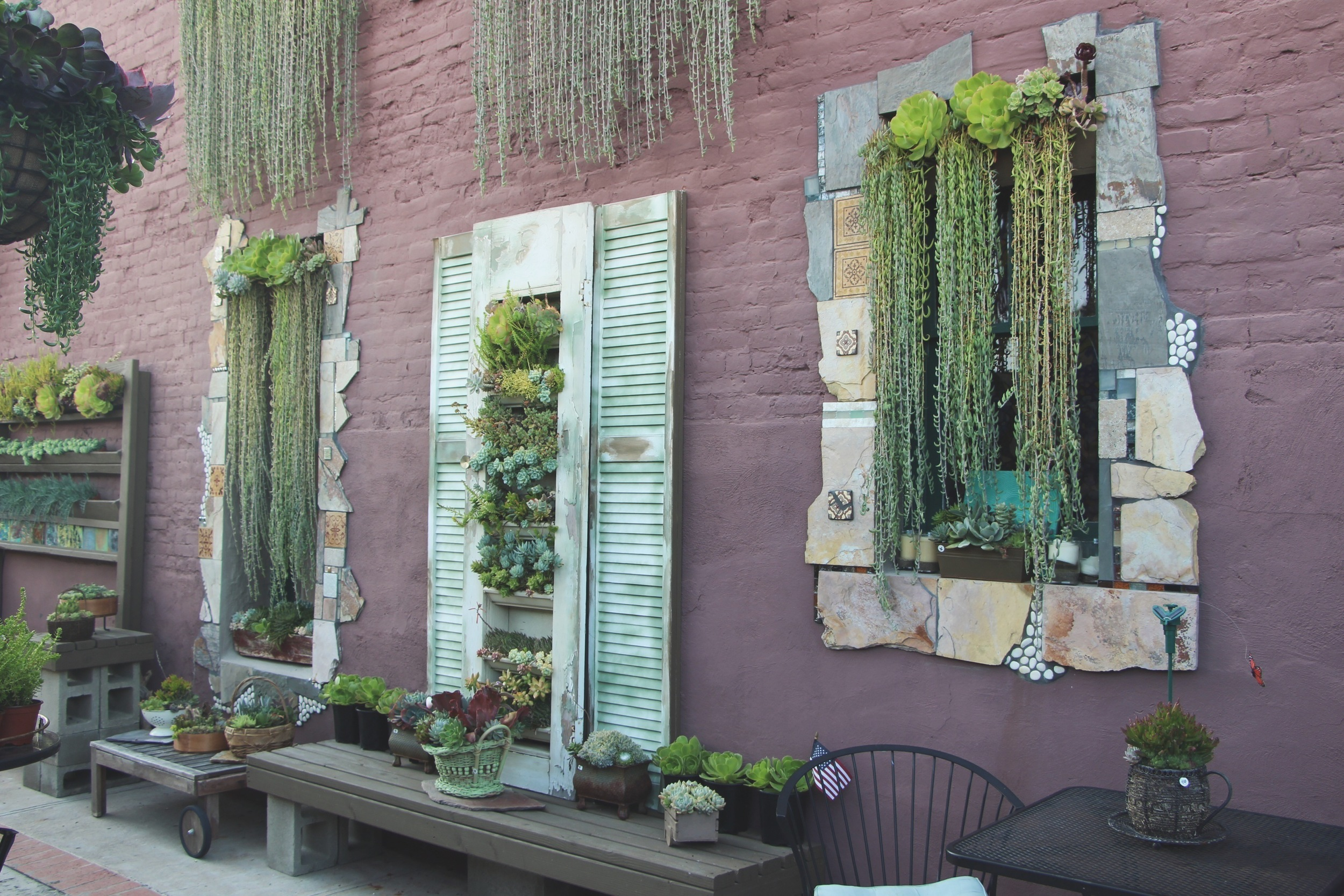 Vertical Succulent Wall Art at Succulent Cafe Oceanside via Needles + Leaves