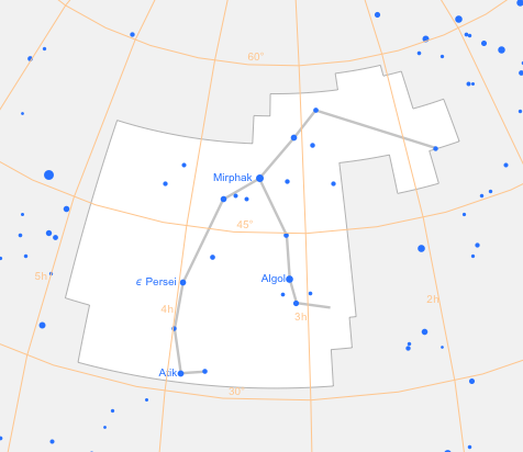 Figure 3.  Perseus constellation from which Perseid meteor showers originate.