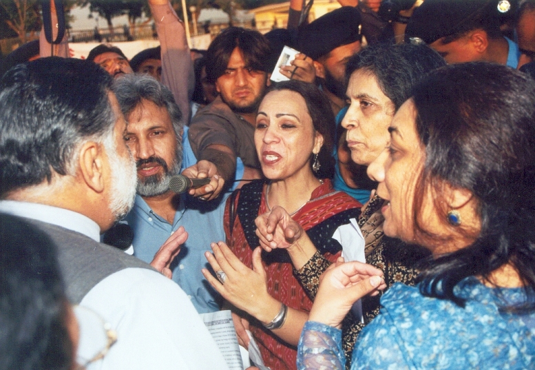 Shahla Zia at a protest rally in 2003