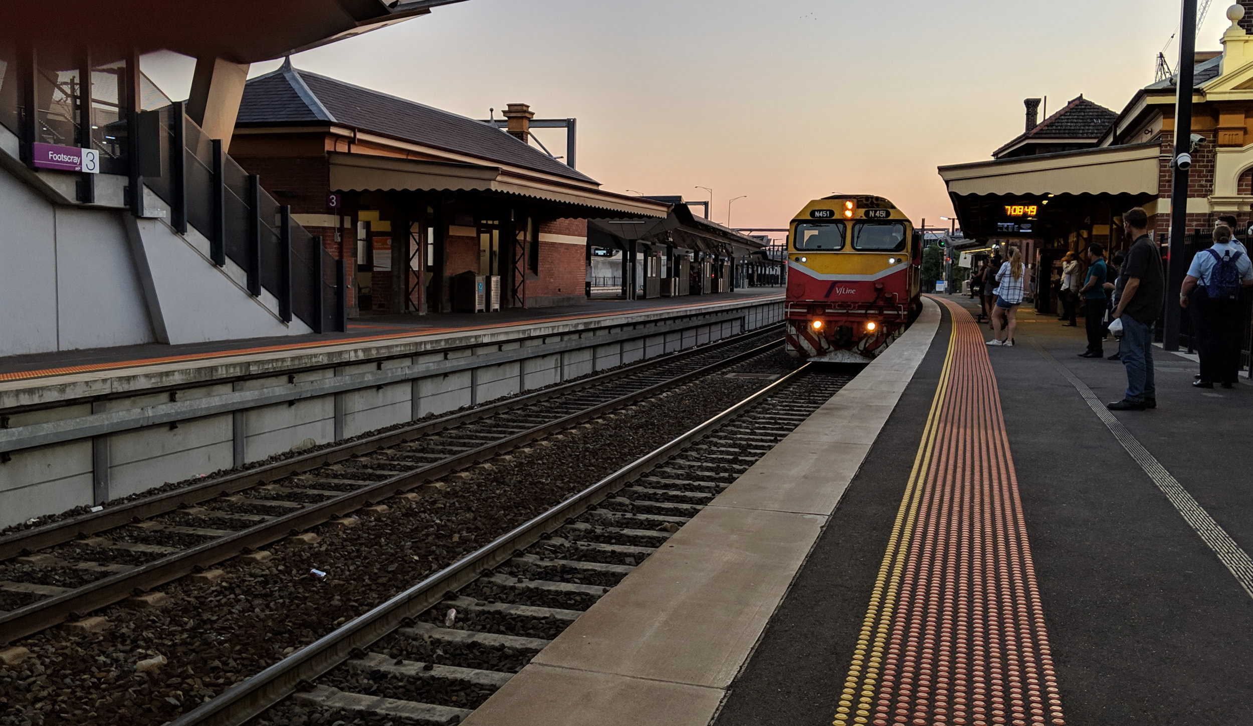 Catching the first train out of Footscray railway station.