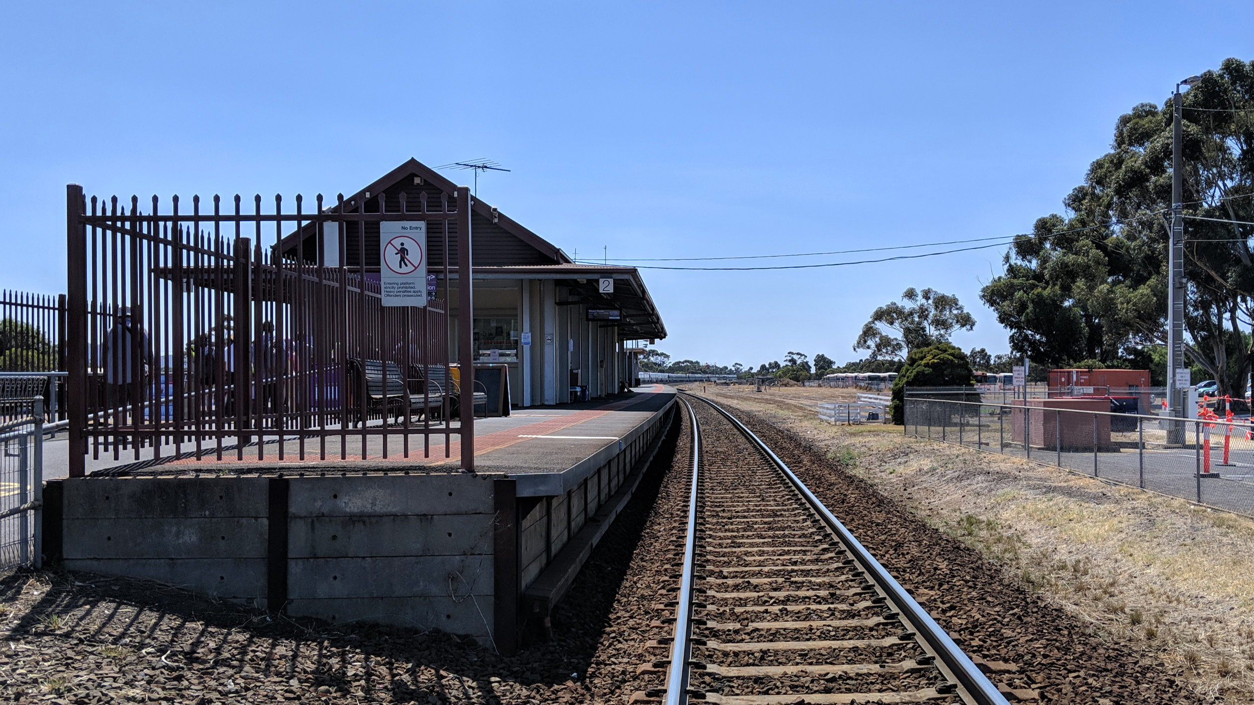 Walking into Lara railway station.