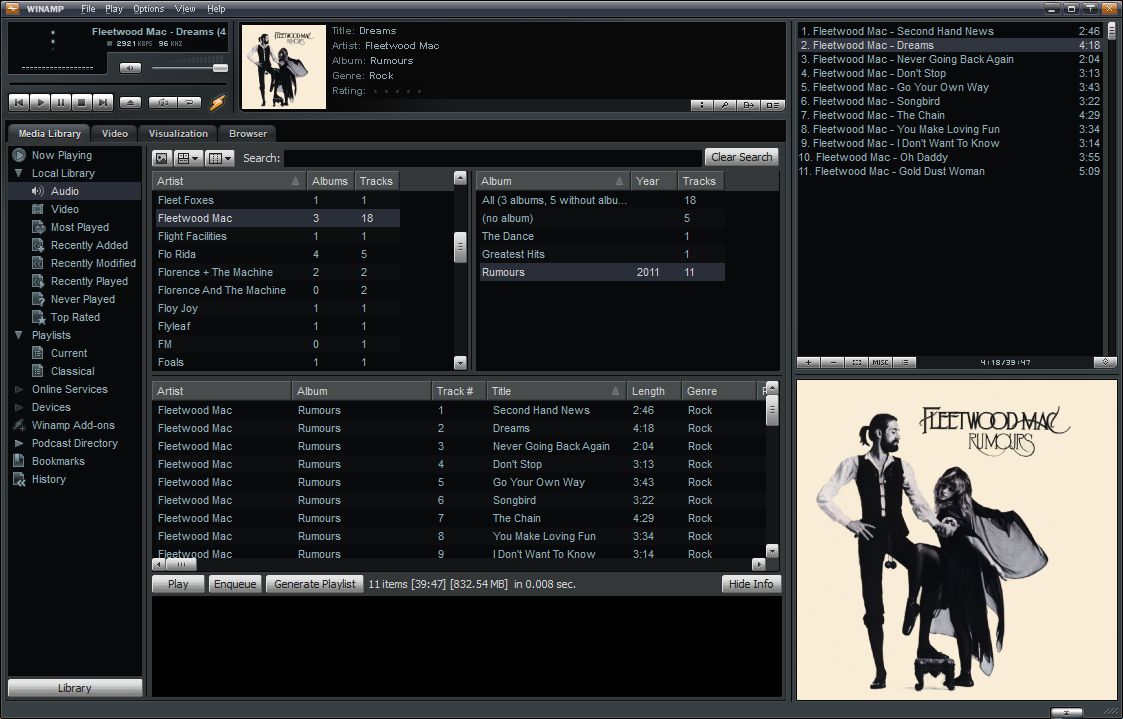 WinAmp interface showing the album being played is Fleetwood Mac's 'Rumours'.