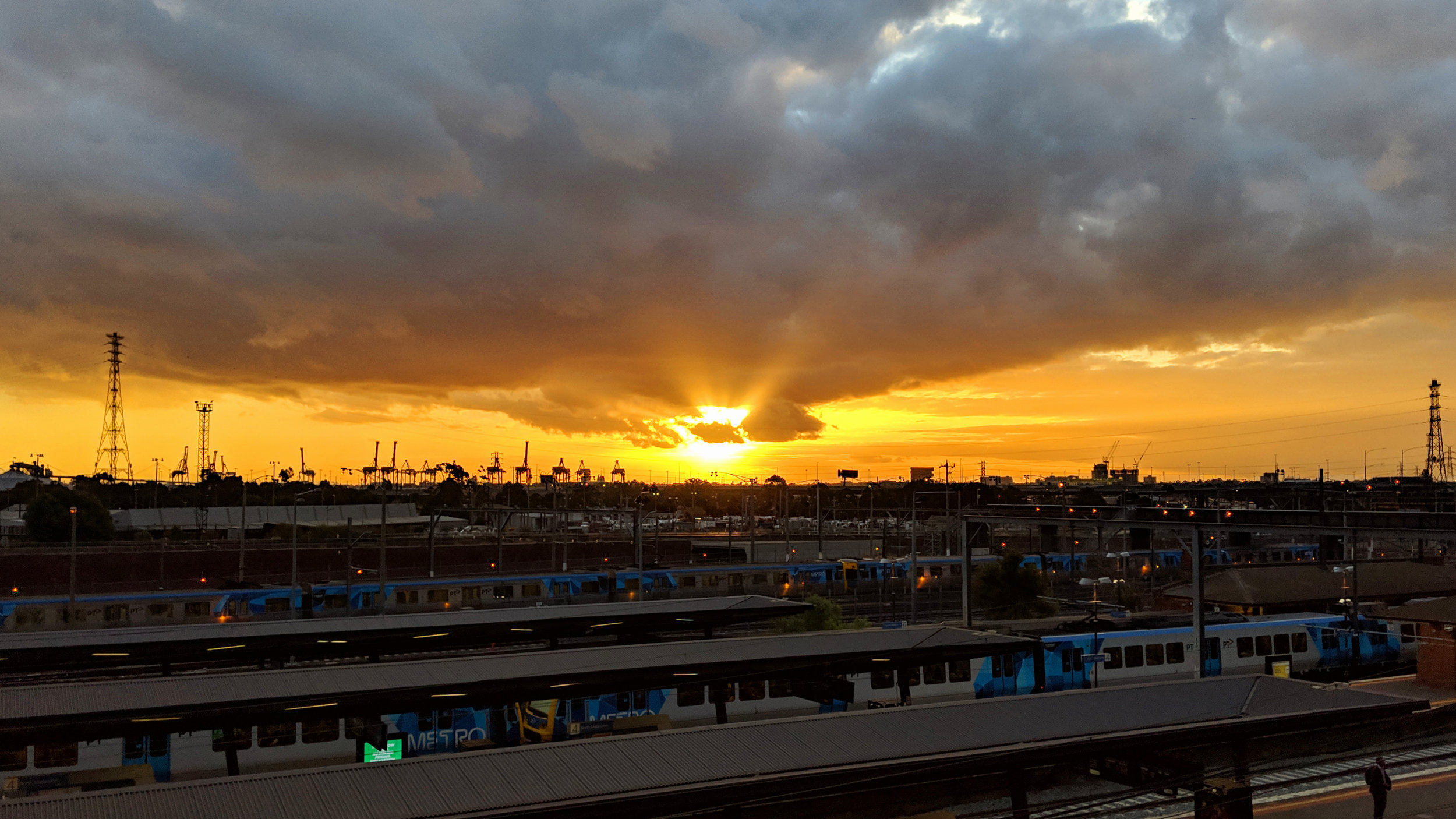 Sunset over North Melbourne railway station