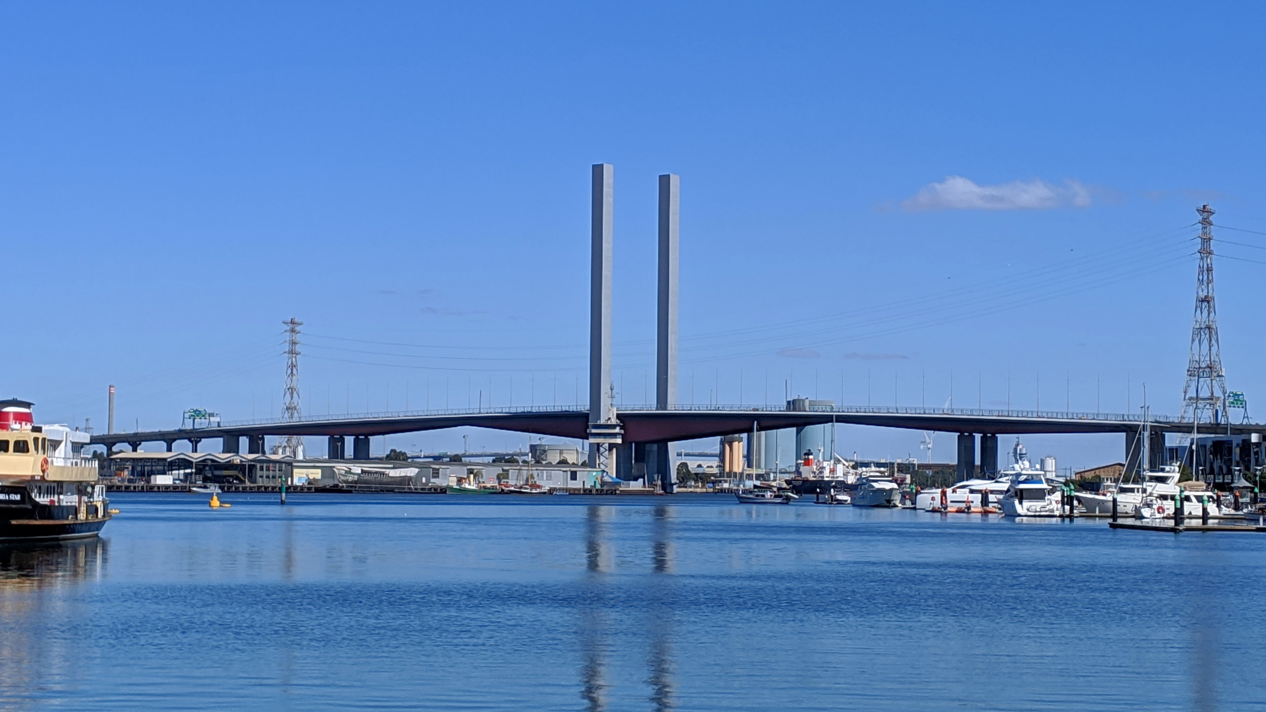Bolte Bridge as seen from Docklands, Melbourne during Run for the Kids 2019