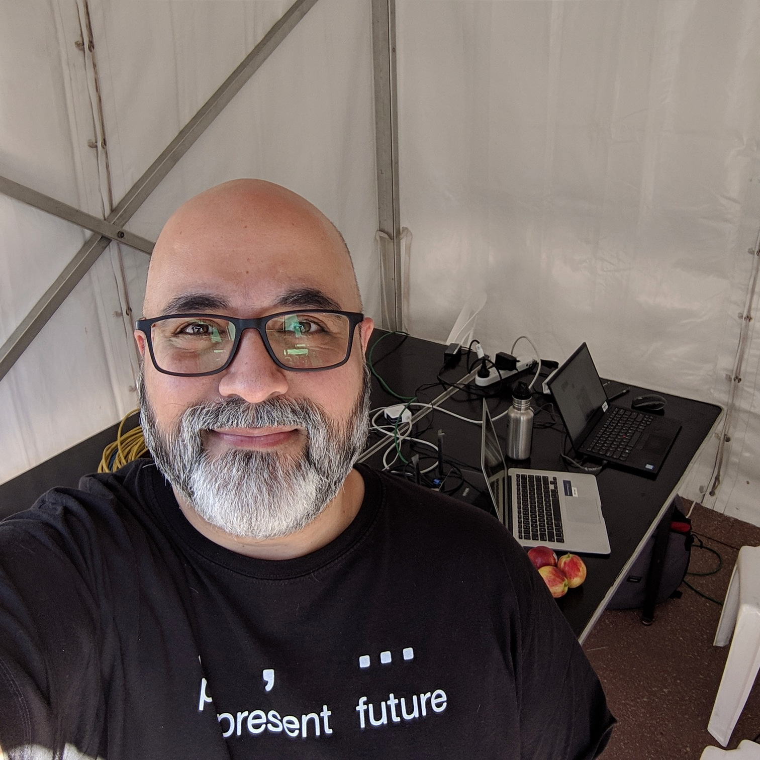 Selfie in a marquee at Run for the Kids 2019