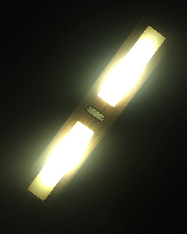 Walnut LED light block .  #lightingdesign #walnut #led