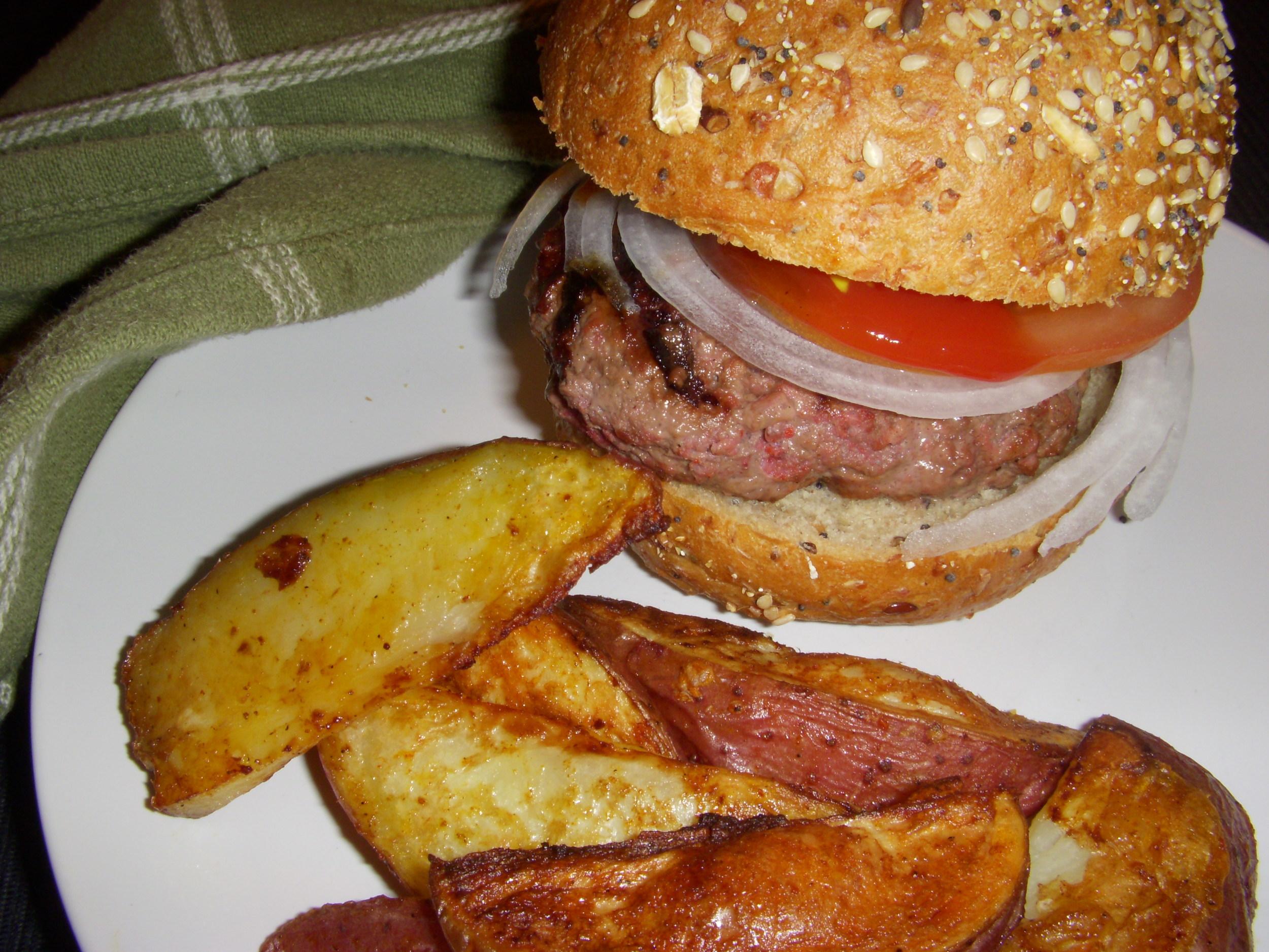 Tandoori Burger with Home Fries