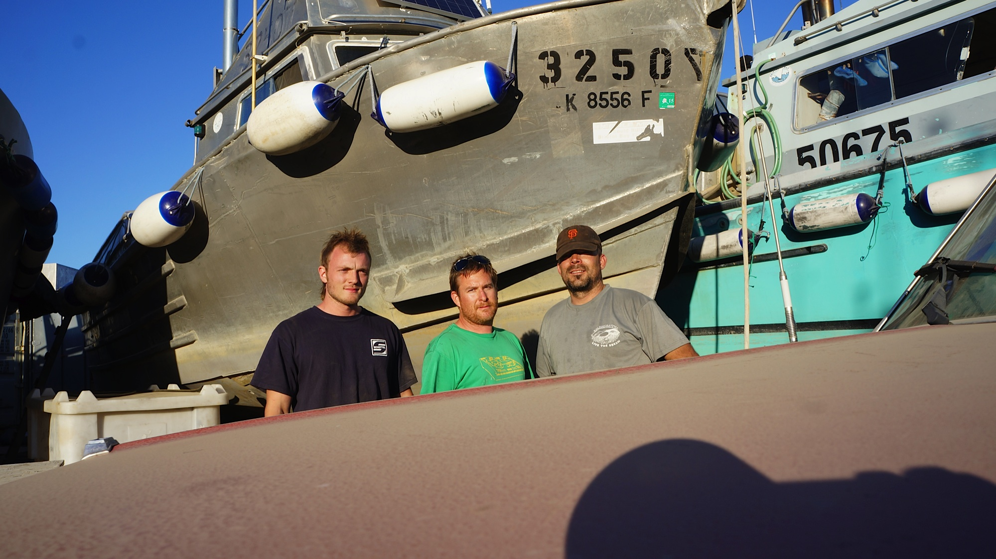 The crew from F/V Potential (from the left) Daniel Strong (and he is) Elijah Lawson, and Freddy Reeves.