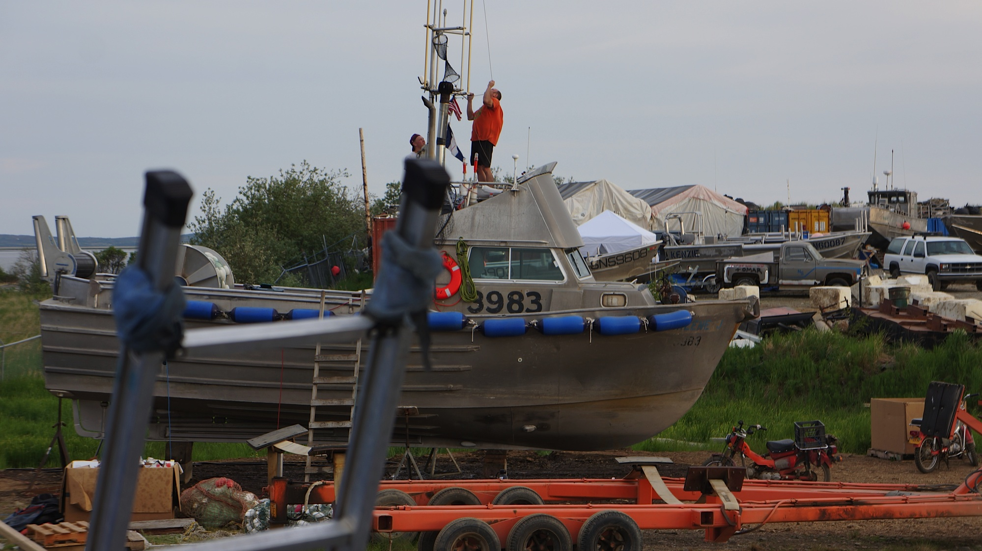 Lots of action around the boat yard. Nothing gets people moving like hearing that the fish are showing up early.