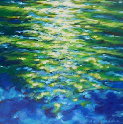 "Emerald trees, blue river 36""x36"""