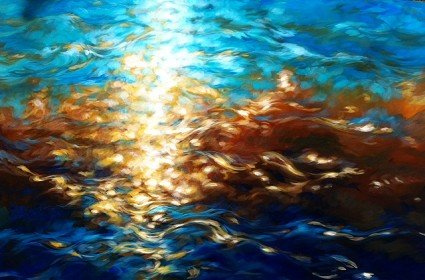 "Amber light, aqua sea 30""x48"""