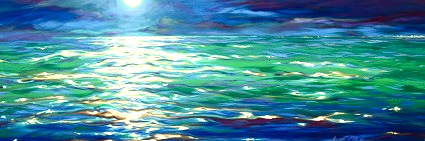 "Yellow moon, green sea 18""x50"""