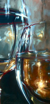 "Pewter and flame study 24""x48"""