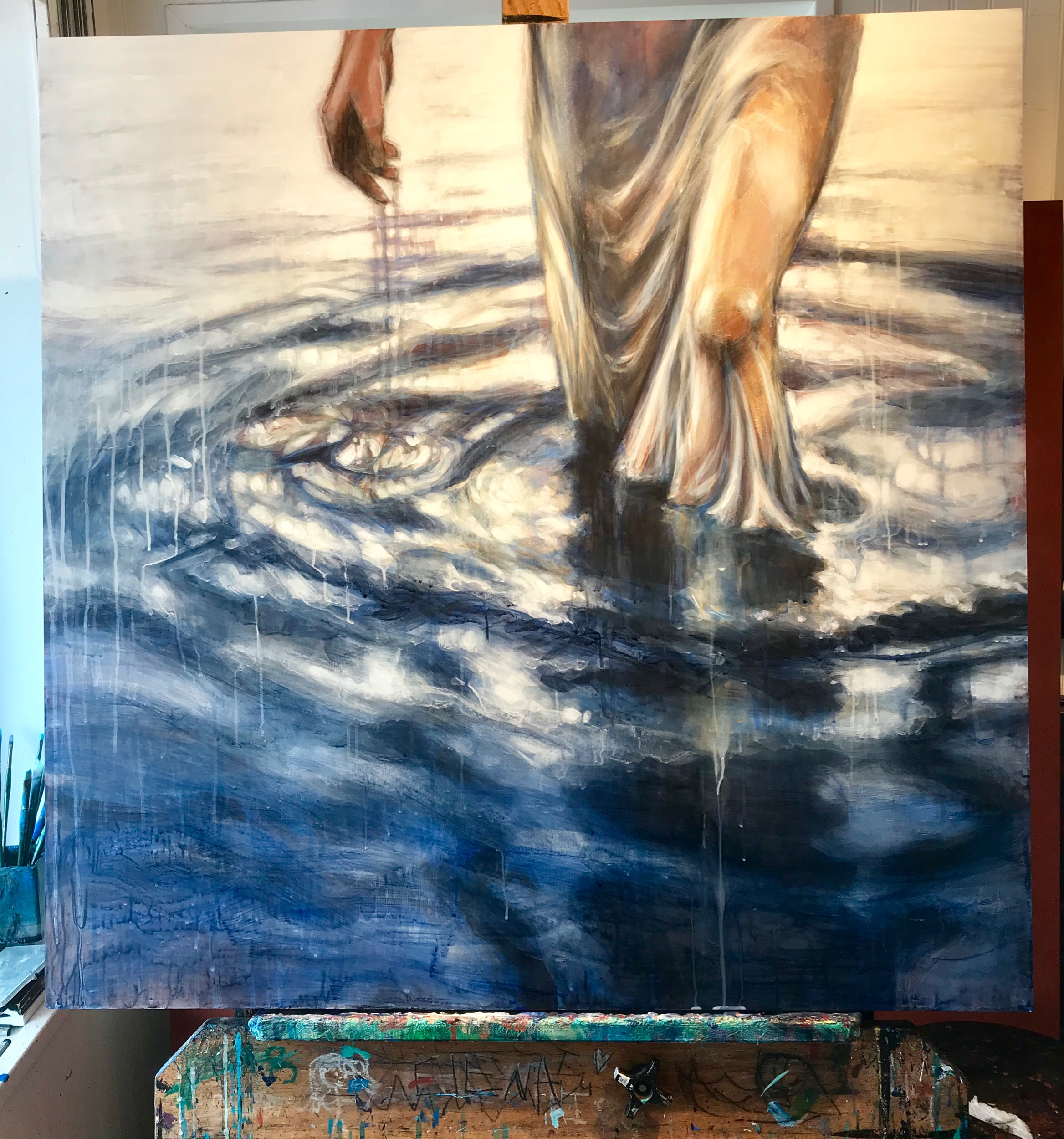 """""""Find the River"""" 36x6""""conte'and acrylic on cradled birch panel"""