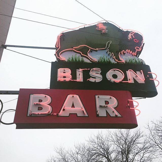 "Ninja Sara is driving across the north plains: ""The horses will not ride, the gospel won't be spoken"" -@Tombrosseau : : : #roadtrip #poetry #Dakota #bigsky #signage #typography #roadside #art #bison #bar #neon #playlist #adventure #opportunity #growth #transformation #cross #country #travel #risk"