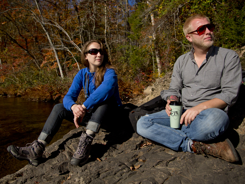 Brit and Don enjoying some coffee by the river before a hard days work.