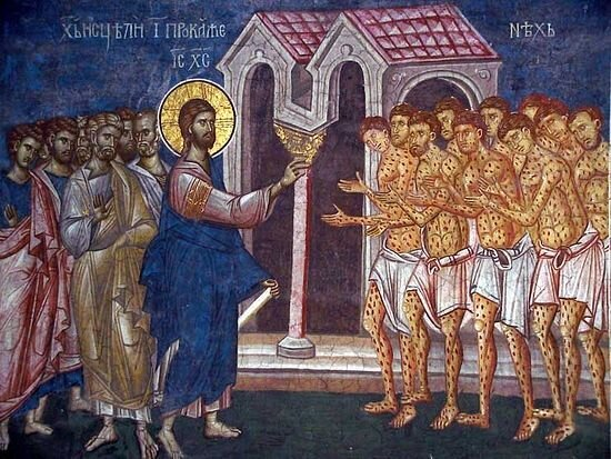 An icon of the healing of the ten lepers