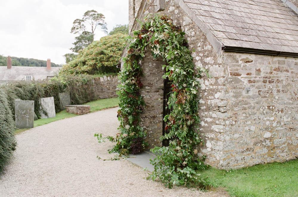 Foliage arch at Boconnoc Church