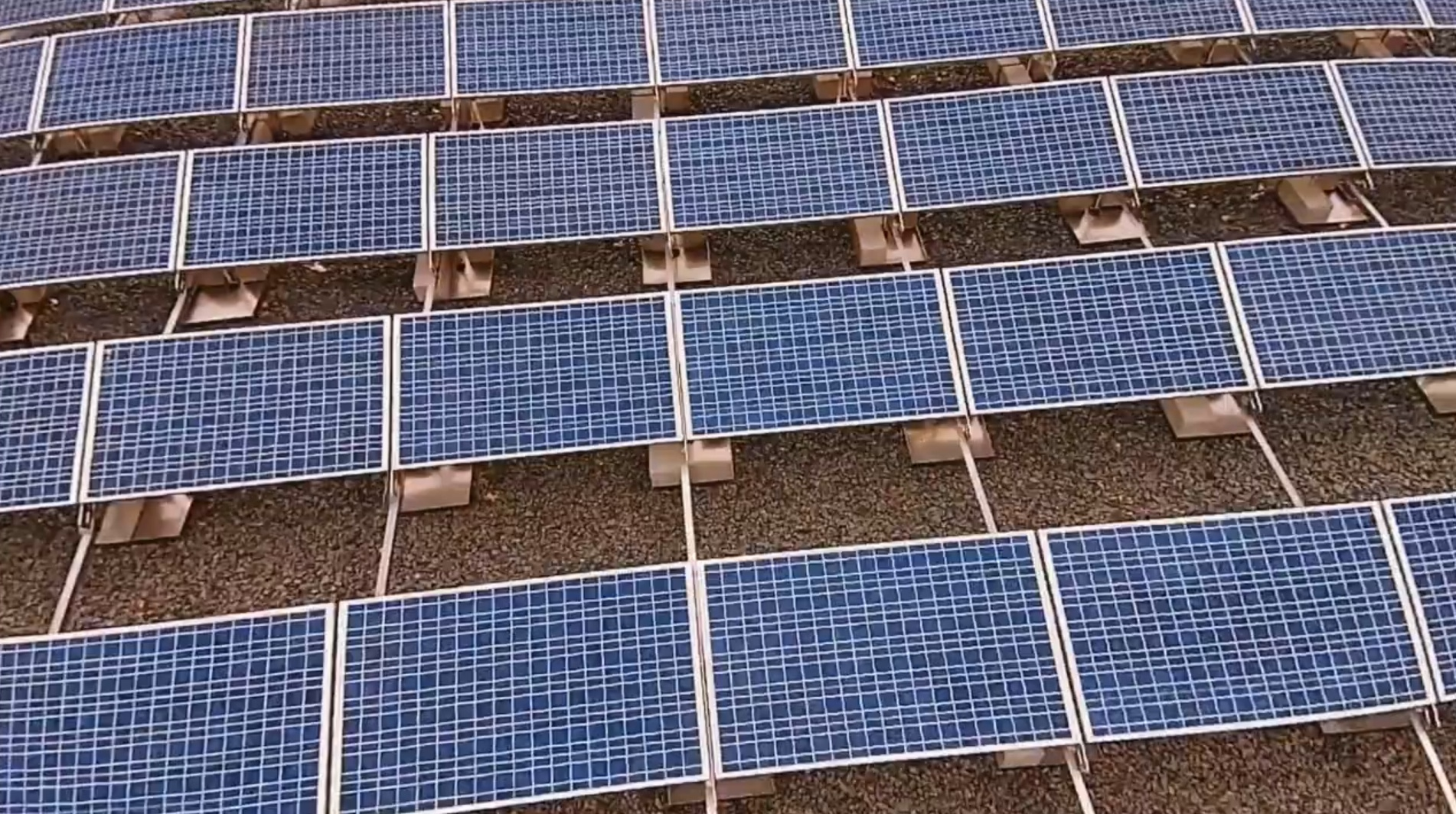 Straight of the drone footage for one of the solar arrays