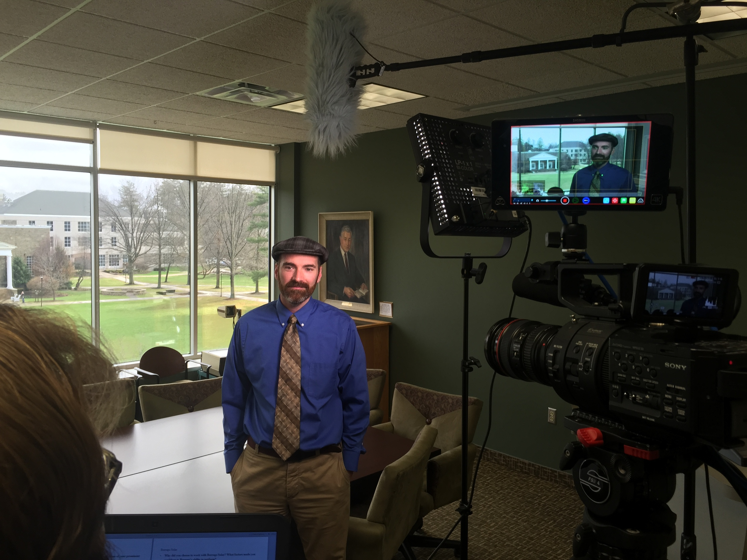 Indoors filming an interview with Brian Webb from Houghton College. Litepanels LED are great for this kind of setup and give a nice soft light with great control of color temperature and hardness.