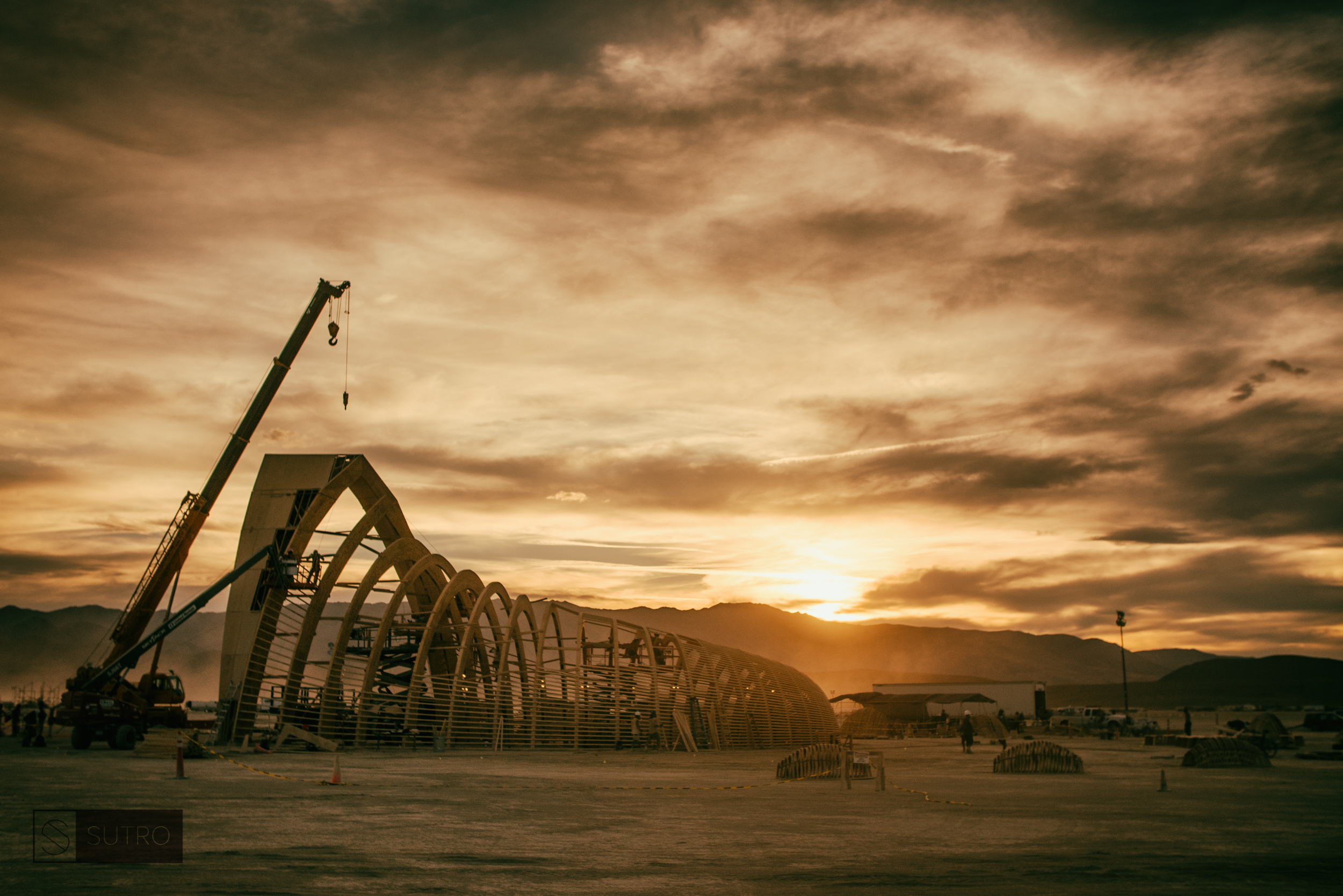 One of the many stunning sunsets on the Playa, several days before the event officially opens to the public. The Temple crew already working around the clock to make sure everything ran on time and smoothly.