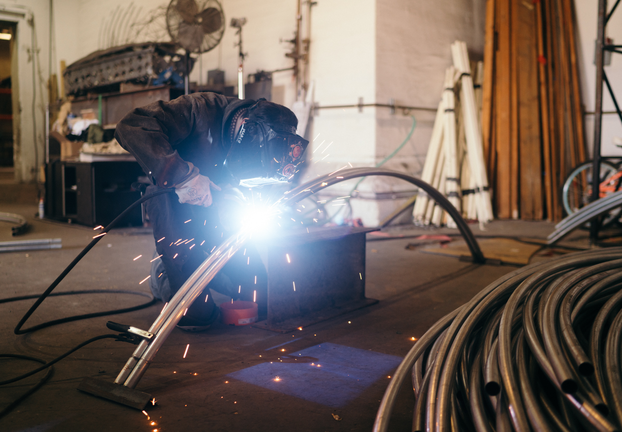 Welding officially begins for the Sonic Runway project. Photo by Afonso Salcedo.