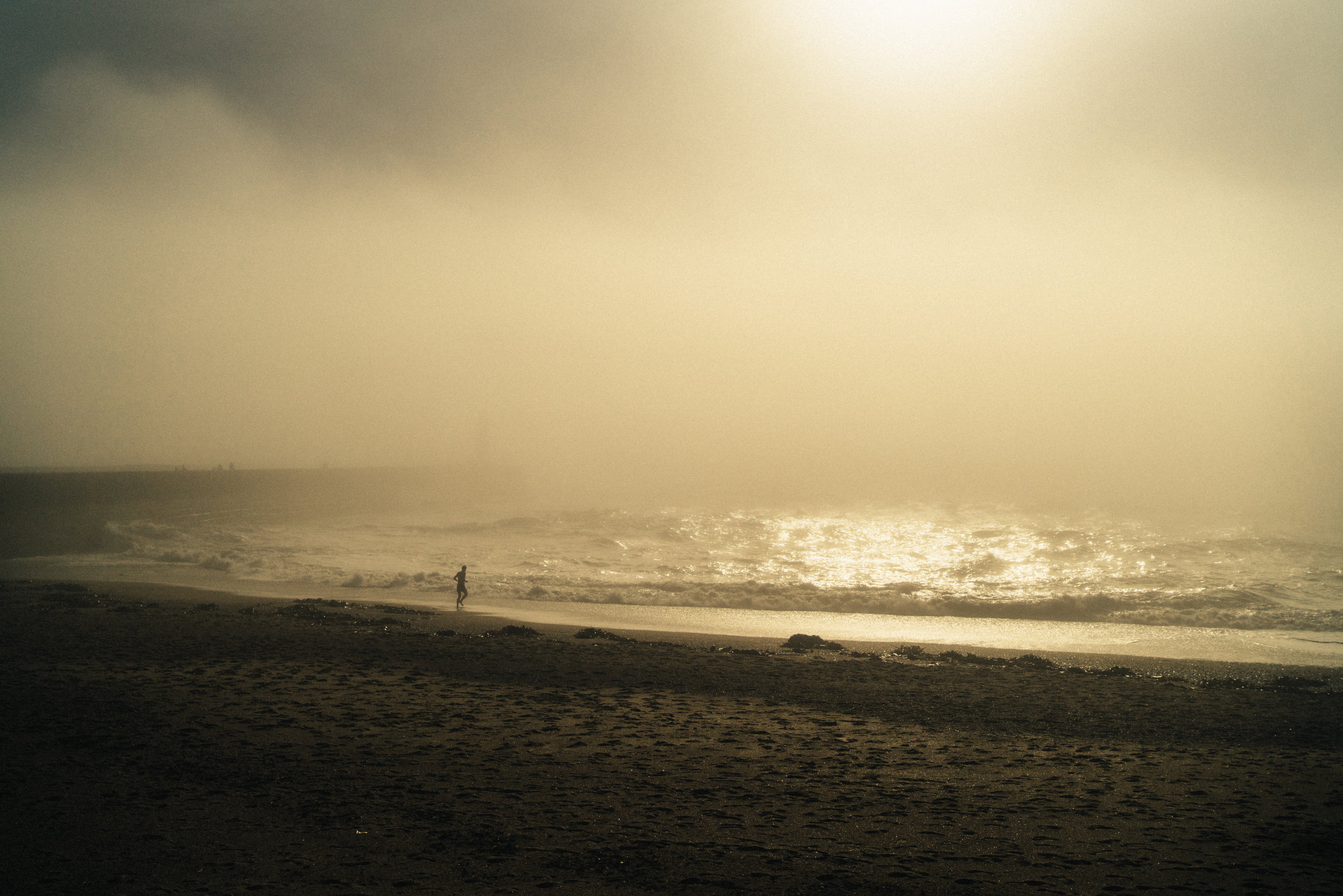 Atlantic Ocean in a hazy dreamy fog.