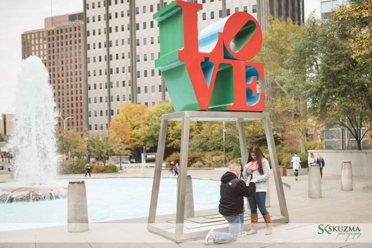 Love Park Surprise Engagemnt
