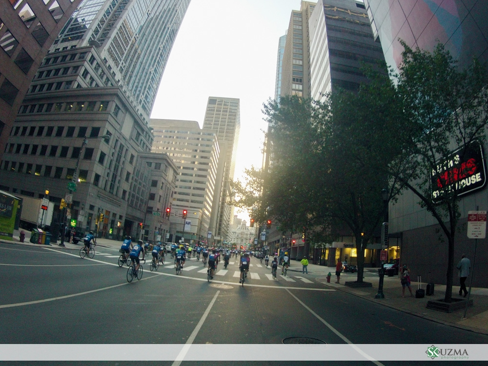 An empty Market St. in Philadelphia for us to ride down