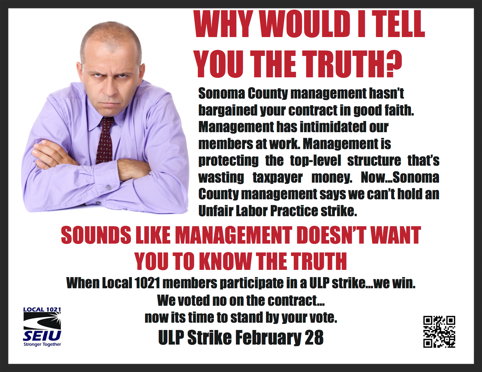 Promo for Sonoma County contract negotiations at SEIU Local 1021.