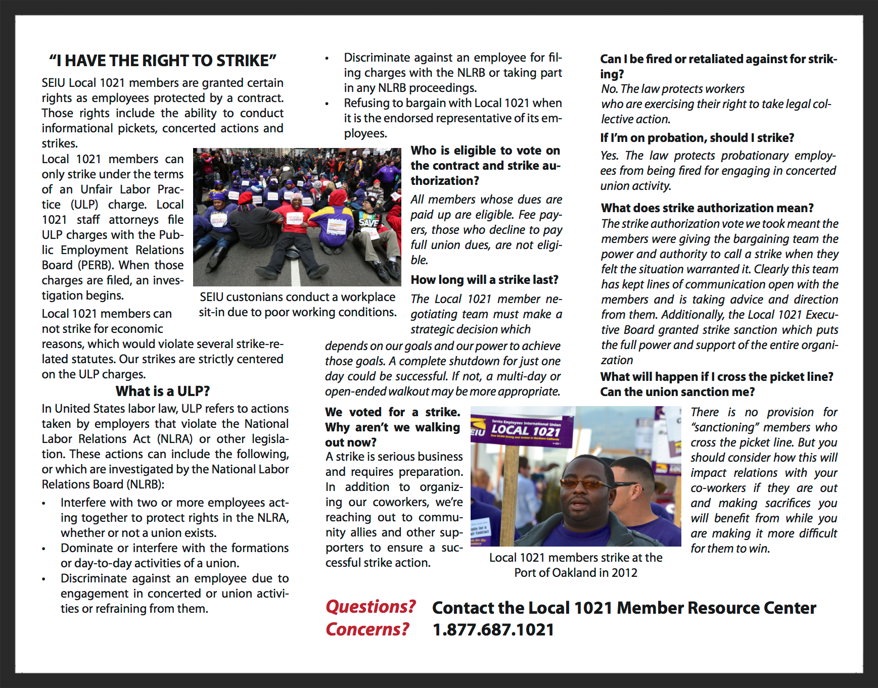 Three-panel pamphlet (2 of 2) used to educate union members of their rights.