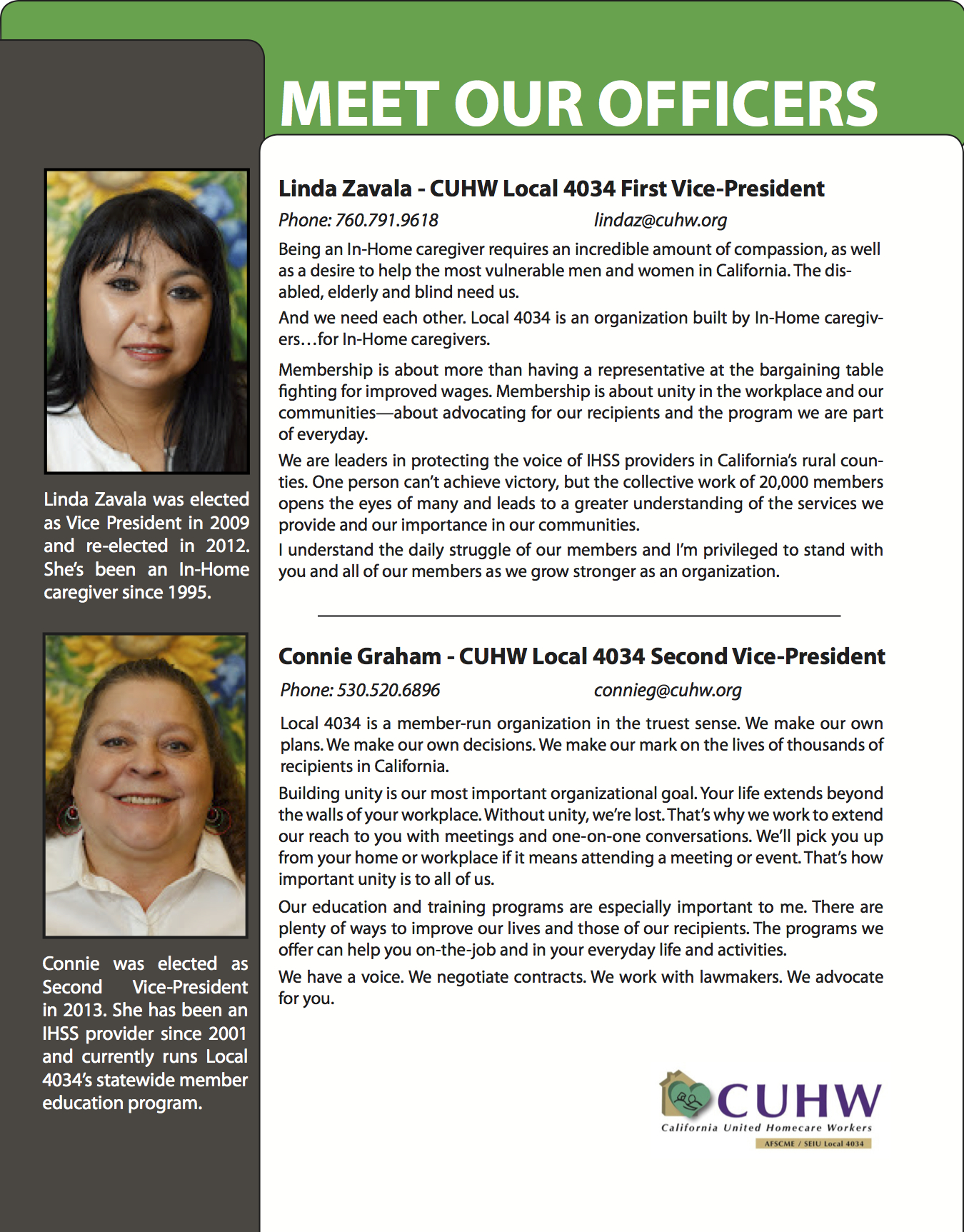 Officers/Leaders page for California United Homecare Workers New Member booklet